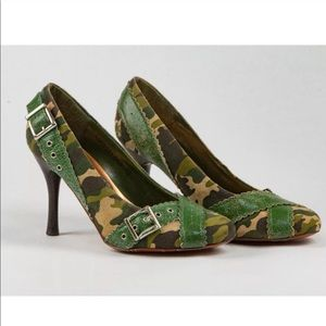 "naughty monkey Shoes - **CCO** PRICE ""Out of Line"" Distressed Camo Heels"